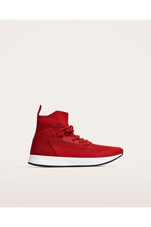 Zara CONTRASTING RED HIGH TOP SNEAKERS