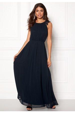 Ax Paris Naiset Juhlamekot - Lace Trim Chiffon Dress Navy S (UK10)