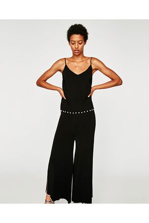 Zara CULOTTES WITH SLITS AND FAUX PEARLS