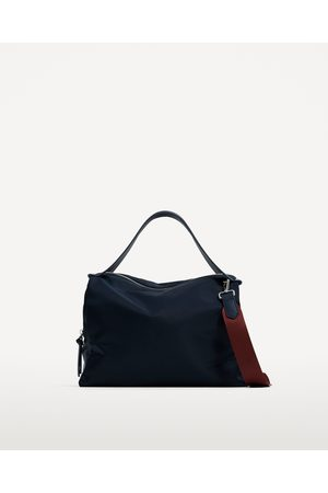 Zara FABRIC BOWLING BAG WITH CONTRASTING HANDLE