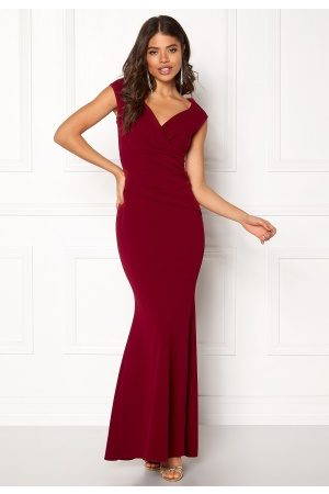 Goddiva Bardot Pleat Maxi Dress Wine XS (UK8)