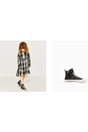 Zara STUDDED HIGH-TOP SNEAKERS