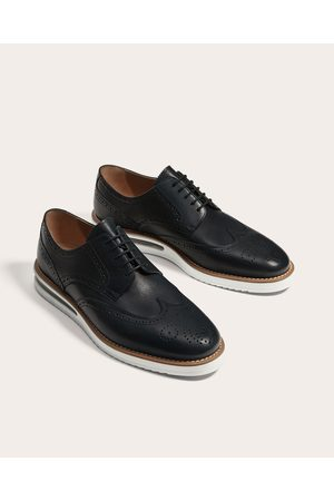 Zara LEATHER WEDGE DERBY SHOES
