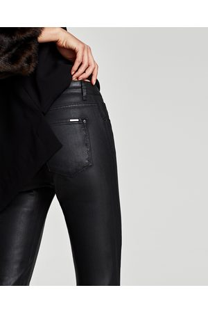 Zara MID RISE FAUX LEATHER TROUSERS