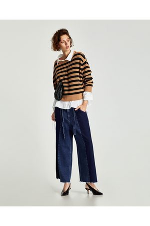 Zara CONTRASTING DENIM CULOTTES WITH BELT