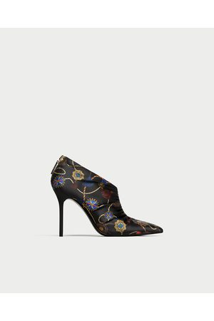 Zara PRINTED HIGH HEEL ANKLE BOOTS WITH GATHERING