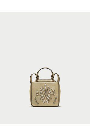 Zara METALLIC BEADED CROSSBODY BAG