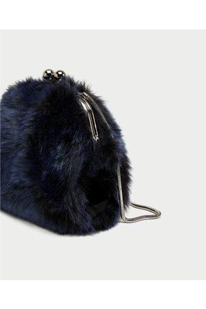 Zara FAUX FUR CROSSBODY BAG WITH CLASP FASTENING