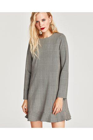 Zara CHECKED LONG SLEEVE DRESS