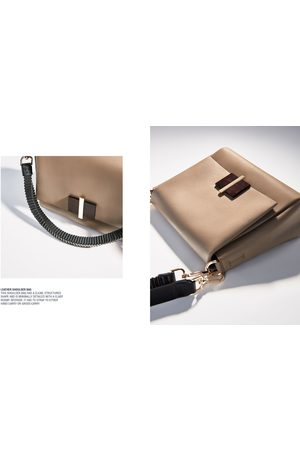 Zara LEATHER CROSSBODY BAG WITH PLEATED STRAP DETAIL