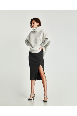 Zara RIBBED PENCIL SKIRT WITH BUTTONS