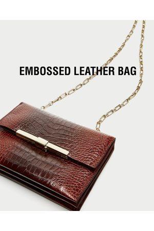 Zara EMBOSSED LEATHER CROSSBODY BAG