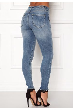 Only Blush Mid Raw Jeans Light Blue Denim L/30