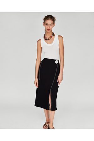 Zara WRAP SKIRT WITH CONTRASTING TOPSTITCHING DETAIL