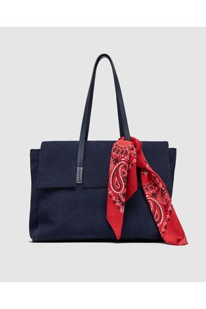 Zara LEATHER CITY BAG WITH HANDKERCHIEF DETAIL