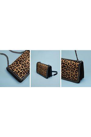 Zara PRINT LEATHER CROSSBODY BAG