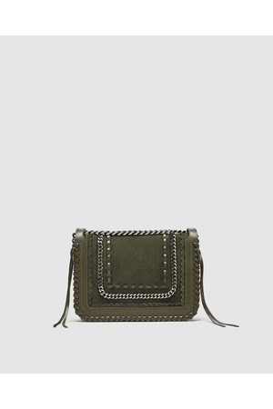 Zara Naiset Olkalaukut - LEATHER CROSSBODY BAG WITH CHAIN - Available in more colours