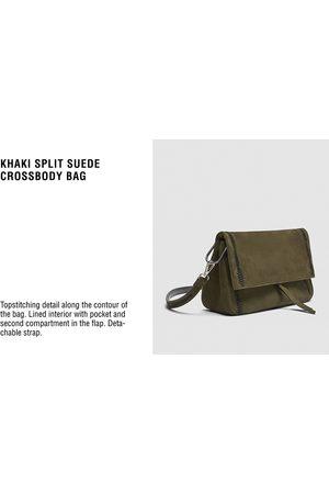 Zara SPLIT SUEDE CROSSBODY BAG WITH CONTRASTING DETAILS