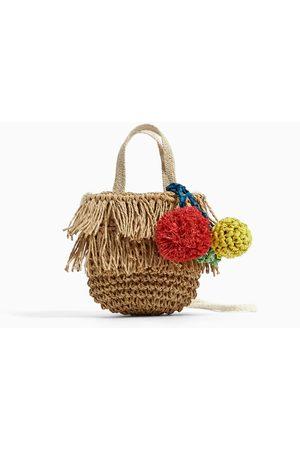 Zara RAFFIA CROSSBODY BAG WITH DECORATIVE DETAILS