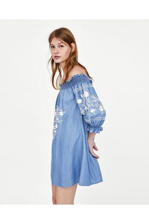 Zara OFF-THE-SHOULDER EMBROIDERED DRESS