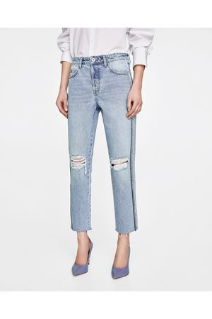 Zara MOM FIT JEANS WITH SIDE TRIMS