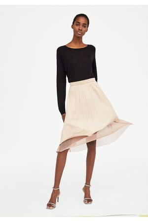 Zara COMBINED FAUX LEATHER SKIRT