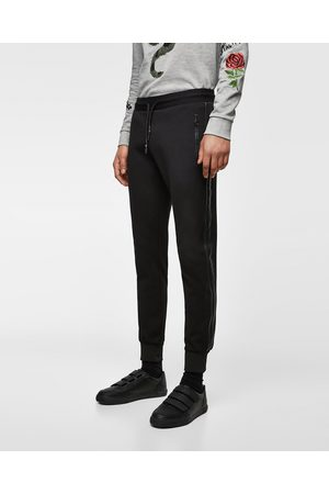 Zara Joggersit - JOGGING TROUSERS WITH FAUX LEATHER SIDE STRIPES