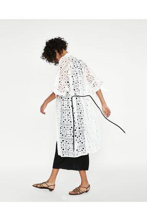Zara EMBROIDERED KIMONO WITH PERFORATIONS