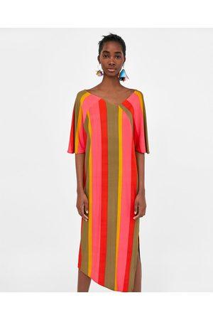 Zara STRIPED ASYMMETRIC DRESS
