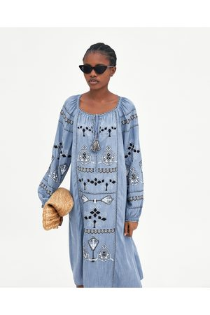 Zara EMBROIDERED DENIM TUNIC DRESS