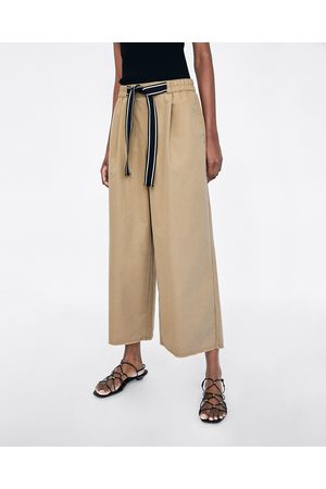 Zara CULOTTES WITH CONTRASTING RIBBED DRAWSTRINGS