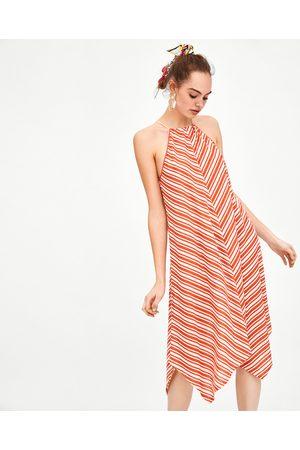 Zara STRIPED HALTERNECK DRESS
