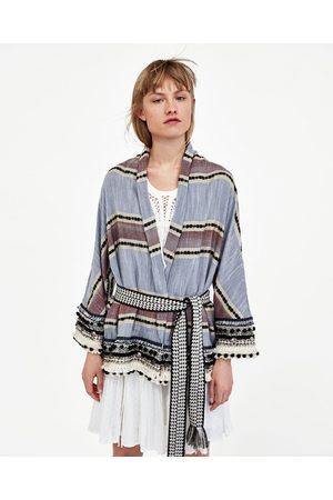 Zara Naiset Kimonot - STRIPED KIMONO WITH POMPOMS
