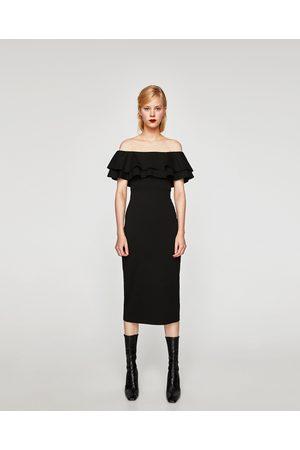 Zara FITTED OFF-THE-SHOULDER DRESS