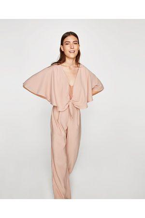 Zara CAPE JUMPSUIT WITH LACE