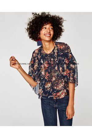 Zara PRINTED CAPE BLOUSE