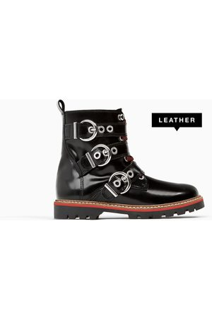 Zara LEATHER BIKER BOOTS WITH BUCKLES