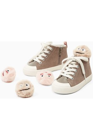 Zara HIGH TOP SNEAKERS WITH POMPOMS