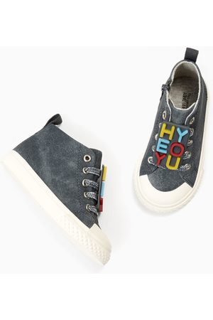 Zara HIGH TOP SNEAKERS WITH SLOGAN APPLIQUÉ
