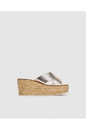 Zara LEATHER WEDGES WITH CROSSOVER STRAPS