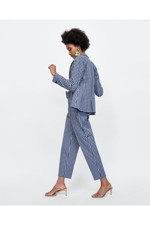 Zara GINGHAM CHECK TROUSERS WITH BELT