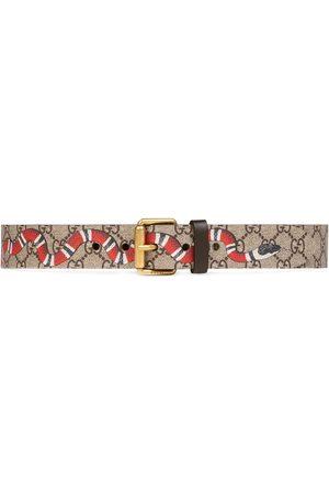 Gucci Miehet Vyöt - Snake print GG Supreme belt