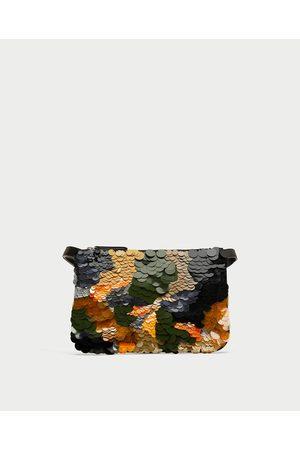 Zara SEQUINNED BELT BAG CLUTCH