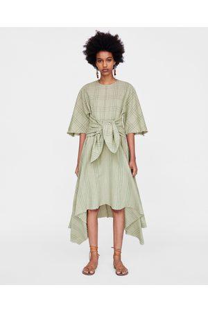 Zara ASYMMETRIC CHECKED DRESS