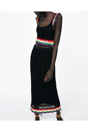 Zara COMBINED PENCIL SKIRT WITH CROCHET DETAIL