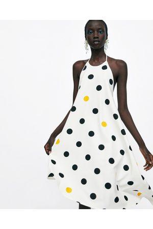 Zara POLKA DOT HALTERNECK DRESS