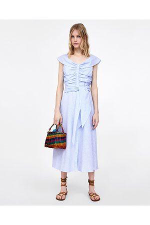 Zara STRIPED OFF-THE-SHOULDER DRESS