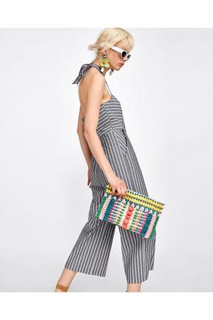 Zara STRIPED CULOTTE JUMPSUIT