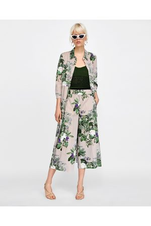 Zara STRIPED AND FLORAL PRINT CULOTTES