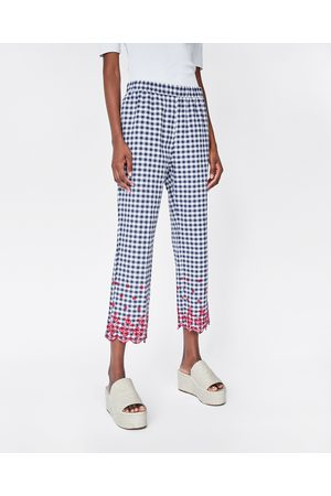 Zara EMBROIDERED GINGHAM TROUSERS